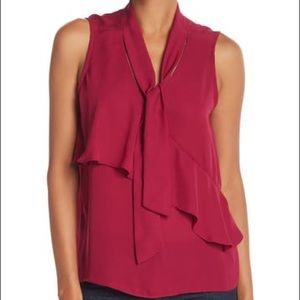 Parker Tie Neck Sleeveless Top Pink Size XS